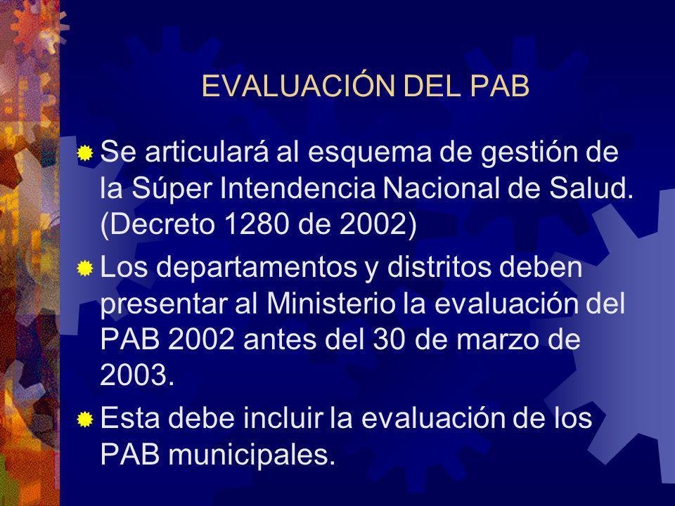 EVALUACIÓN DEL PAB Se articulará al esquema de gestión de la Súper Intendencia Nacional de Salud.