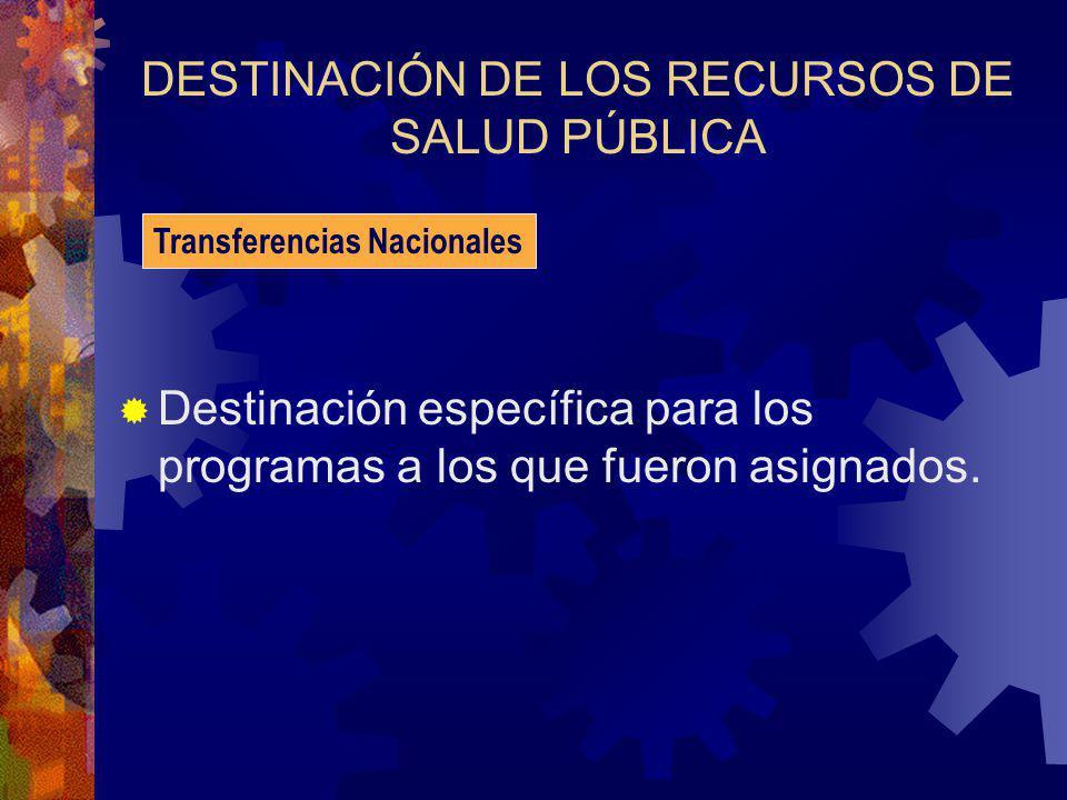 DESTINACIÓN DE LOS RECURSOS DE SALUD PÚBLICA Destinación específica para los programas a los que fueron asignados.