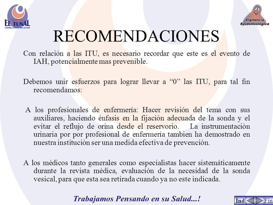 RECOMENDACIONES Con relación a las ITU, es necesario recordar que este es el evento de IAH, potencialmente mas prevenible. Debemos unir esfuerzos para