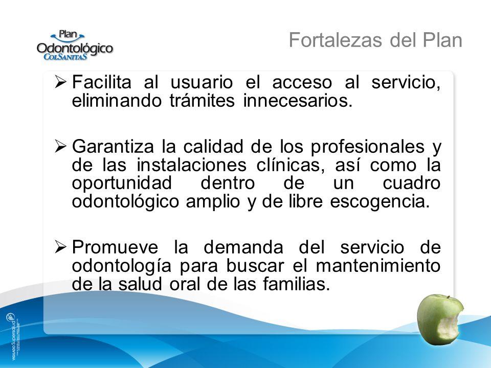 Fortalezas del Plan Facilita al usuario el acceso al servicio, eliminando trámites innecesarios. Garantiza la calidad de los profesionales y de las in