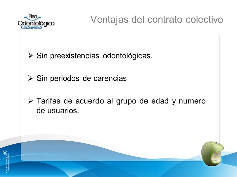 Ventajas del contrato colectivo Sin preexistencias odontológicas. Sin periodos de carencias Tarifas de acuerdo al grupo de edad y numero de usuarios.