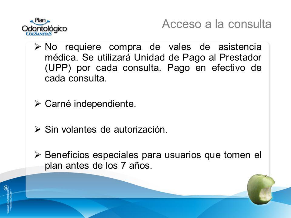 Acceso a la consulta No requiere compra de vales de asistencia médica. Se utilizará Unidad de Pago al Prestador (UPP) por cada consulta. Pago en efect