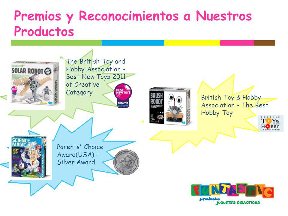 Premios y Reconocimientos a Nuestros Productos British Toy & Hobby Association - The Best Hobby Toy The British Toy and Hobby Association - Best New Toys 2011 of Creative Category Parents Choice Award(USA) - Silver Award