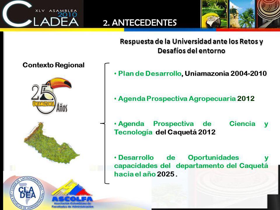 Plan de Desarrollo, Uniamazonia 2004-2010 Agenda Prospectiva Agropecuaria 2012 Agenda Prospectiva de Ciencia y Tecnología del Caquetá 2012 Desarrollo