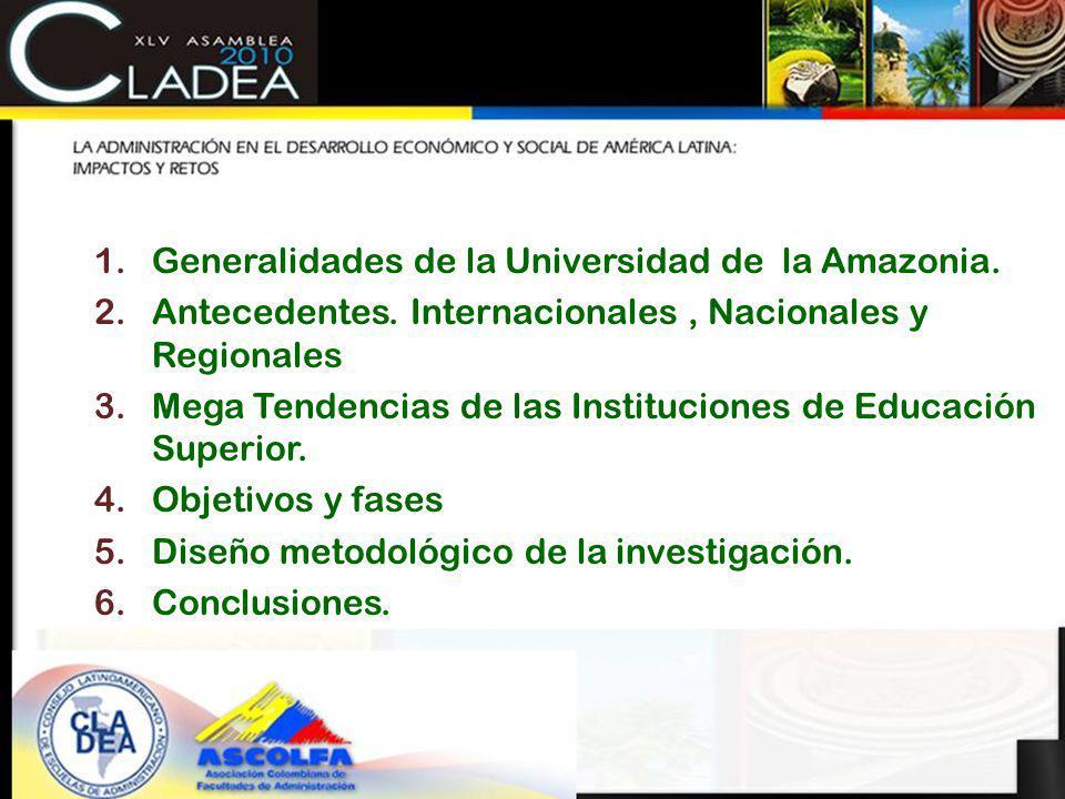 CONTENIDO 1.Generalidades de la Universidad de la Amazonia. 2.Antecedentes. Internacionales, Nacionales y Regionales 3.Mega Tendencias de las Instituc