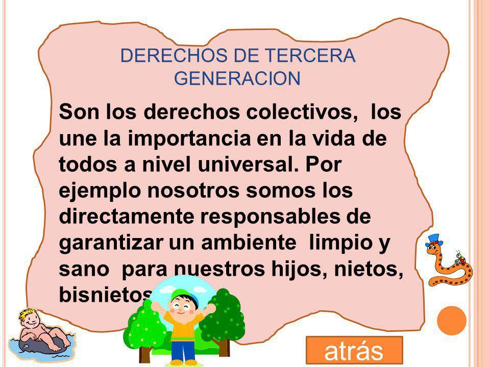 DERECHOS DE SEGUNDA GENERACION Aquí están los derechos económicos, sociales y culturales y se relacionan con el principio de la IGUALDAD. Estos DERECH