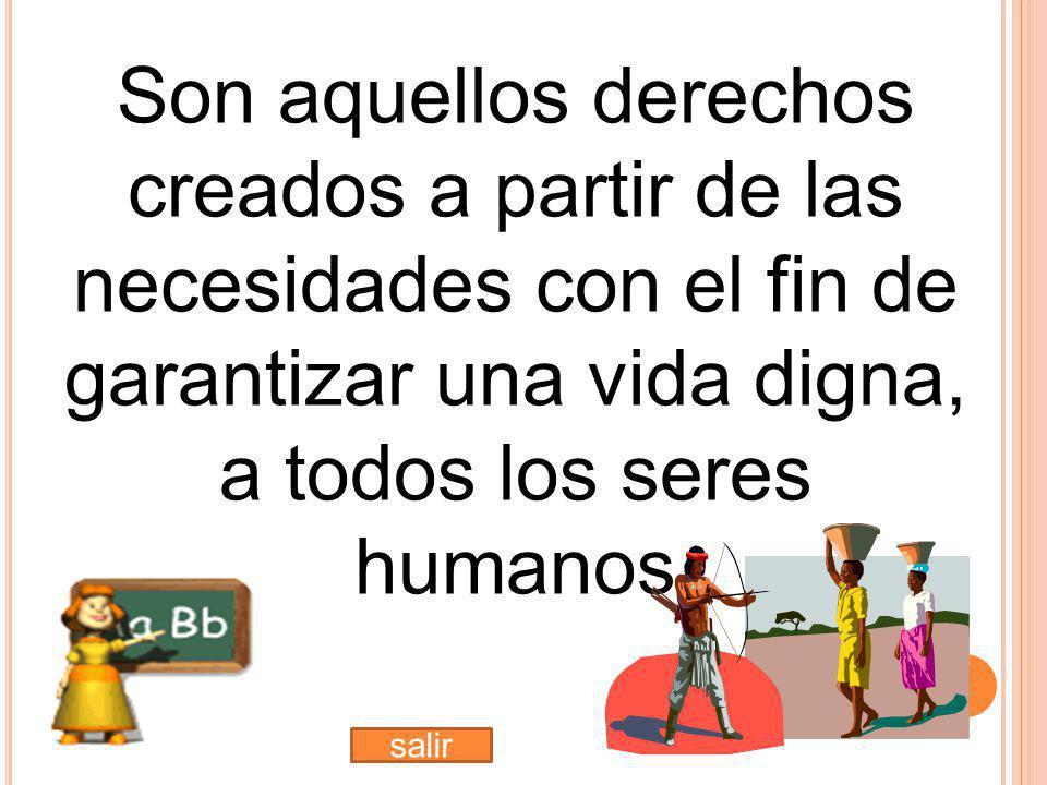 Son aquellos derechos creados a partir de las necesidades con el fin de garantizar una vida digna, a todos los seres humanos salir