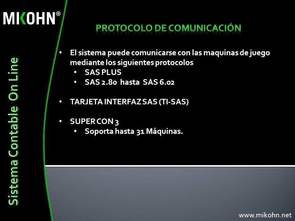 El sistema puede comunicarse con las maquinas de juego mediante los siguientes protocolos SAS PLUS SAS 2.80 hasta SAS 6.02 TARJETA INTERFAZ SAS (TI-SA