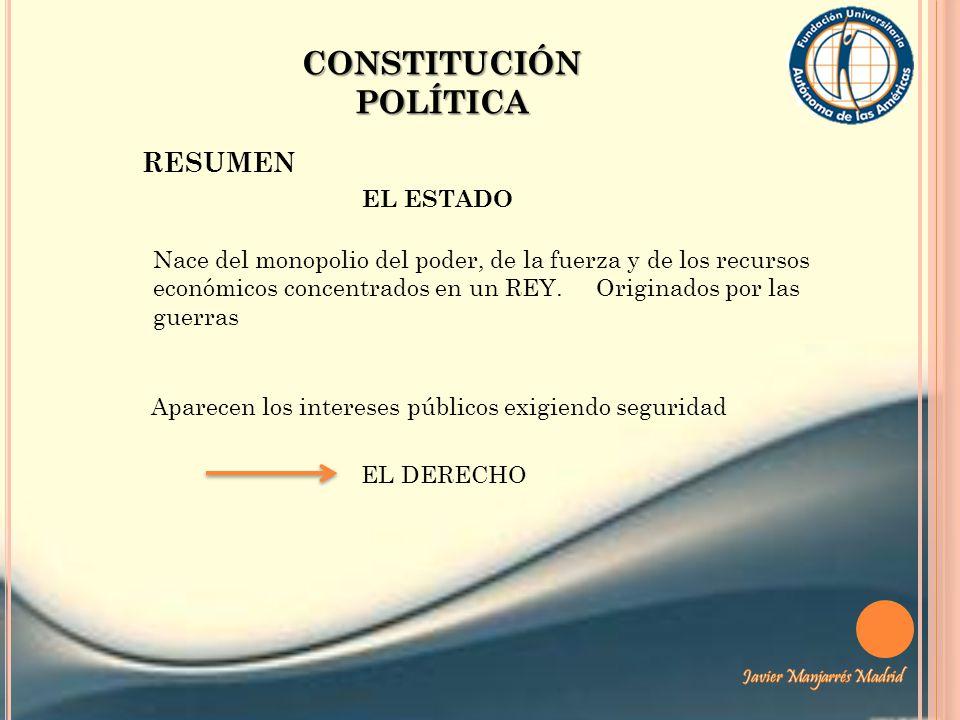 CONSTITUCIÓN POLÍTICA RESUMEN EL ESTADO Nace del monopolio del poder, de la fuerza y de los recursos económicos concentrados en un REY. Originados por
