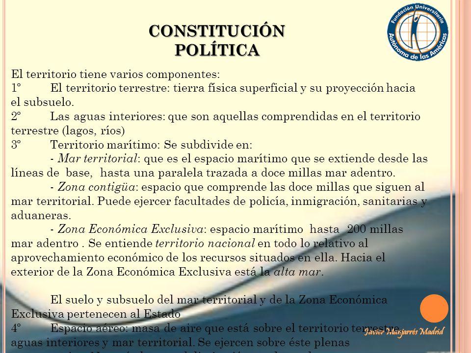 CONSTITUCIÓN POLÍTICA El territorio tiene varios componentes: 1º El territorio terrestre: tierra física superficial y su proyección hacia el subsuelo.