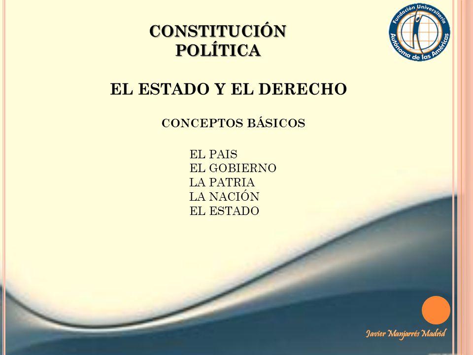 CONSTITUCIÓN POLÍTICA EL ESTADO Es el conjunto de instituciones que ejercen el gobierno y aplican las leyes sobre la población residente en un territorio delimitado, provistos de soberanía, interna y externa.