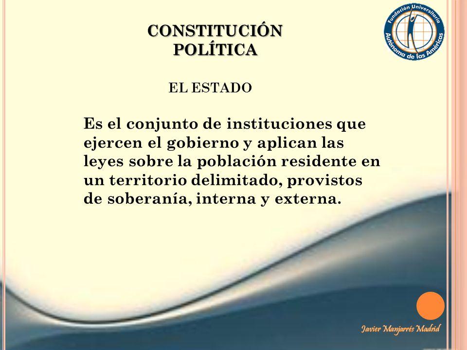 CONSTITUCIÓN POLÍTICA EL ESTADO Es el conjunto de instituciones que ejercen el gobierno y aplican las leyes sobre la población residente en un territo