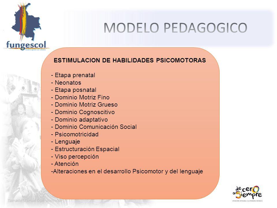 Tomado Manual Operativo ICBF ESTIMULACION DE HABILIDADES PSICOMOTORAS - Etapa prenatal - Neonatos - Etapa posnatal - Dominio Motriz Fino - Dominio Mot