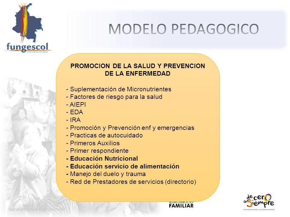 Tomado Manual Operativo ICBF PROMOCION DE LA SALUD Y PREVENCION DE LA ENFERMEDAD - Suplementación de Micronutrientes - Factores de riesgo para la salu