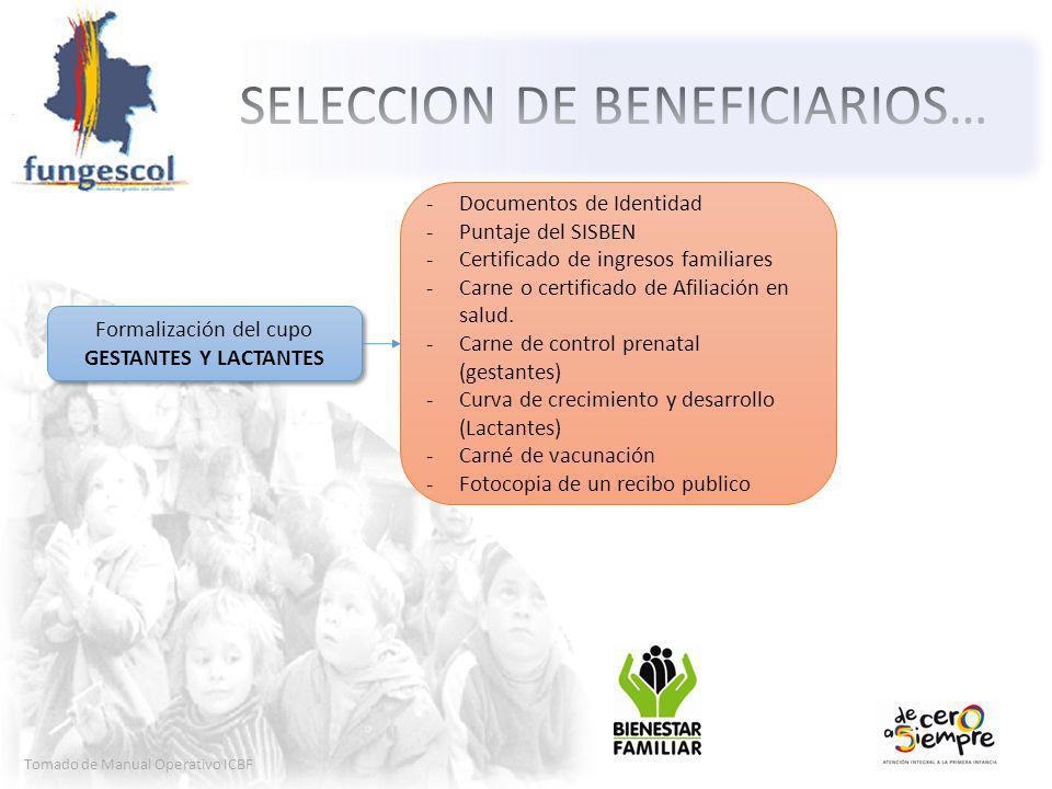Tomado de Manual Operativo ICBF Formalización del cupo GESTANTES Y LACTANTES Formalización del cupo GESTANTES Y LACTANTES -Documentos de Identidad -Puntaje del SISBEN -Certificado de ingresos familiares -Carne o certificado de Afiliación en salud.