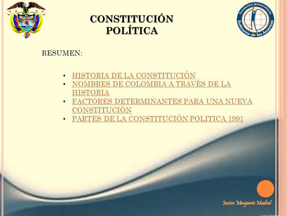 CONSTITUCIÓN POLÍTICA RESUMEN: HISTORIA DE LA CONSTITUCIÓN NOMBRES DE COLOMBIA A TRAVÉS DE LA HISTORIA NOMBRES DE COLOMBIA A TRAVÉS DE LA HISTORIA FAC