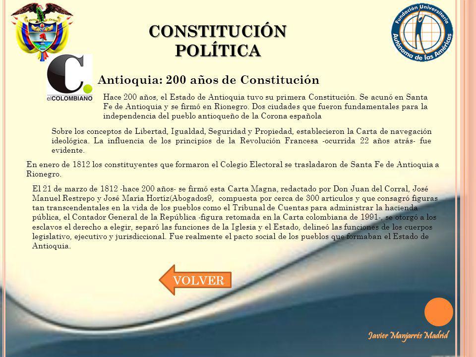 CONSTITUCIÓN POLÍTICA Antioquia: 200 años de Constitución Hace 200 años, el Estado de Antioquia tuvo su primera Constitución. Se acunó en Santa Fe de