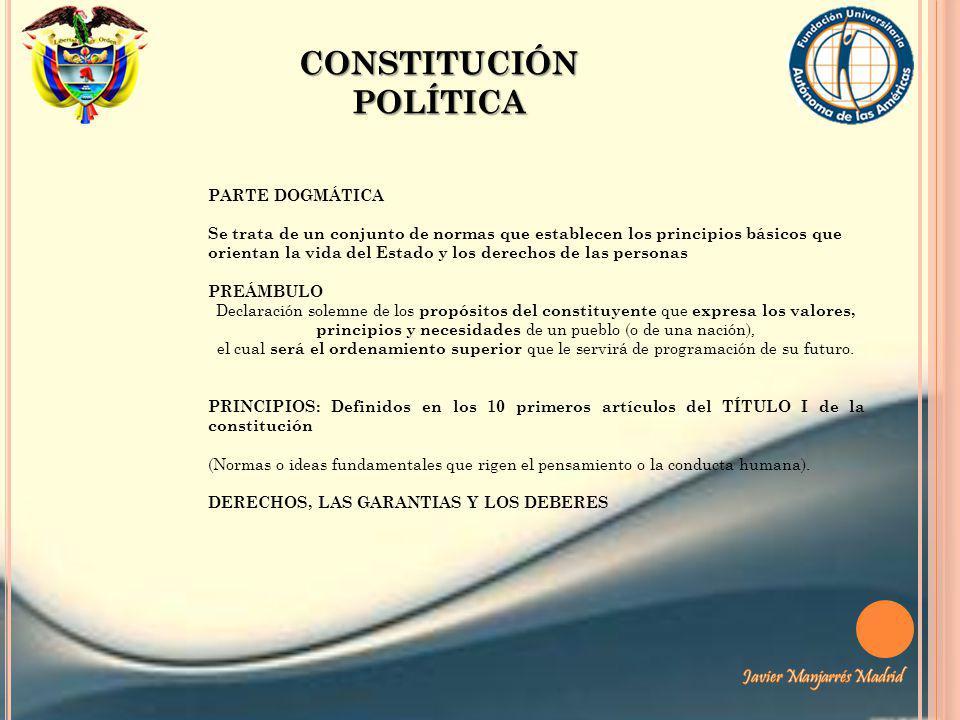 CONSTITUCIÓN POLÍTICA PARTE DOGMÁTICA Se trata de un conjunto de normas que establecen los principios básicos que orientan la vida del Estado y los de