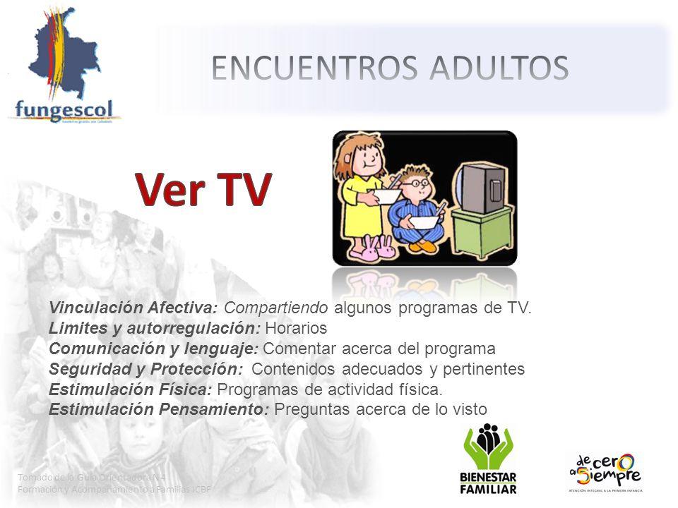 Tomado de la Guía Orientadora N 4 Formación y Acompañamiento a Familias ICBF Vinculación Afectiva: Compartiendo algunos programas de TV.