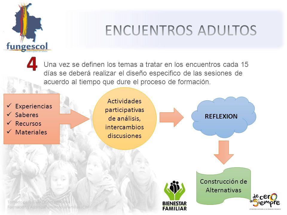Tomado de la Guía Orientadora N 4 Formación y Acompañamiento a Familias ICBF