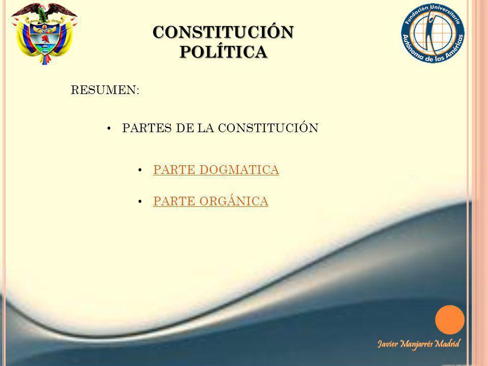 CONSTITUCIÓN POLÍTICA RESUMEN: PARTES DE LA CONSTITUCIÓN PARTE DOGMATICA PARTE ORGÁNICA