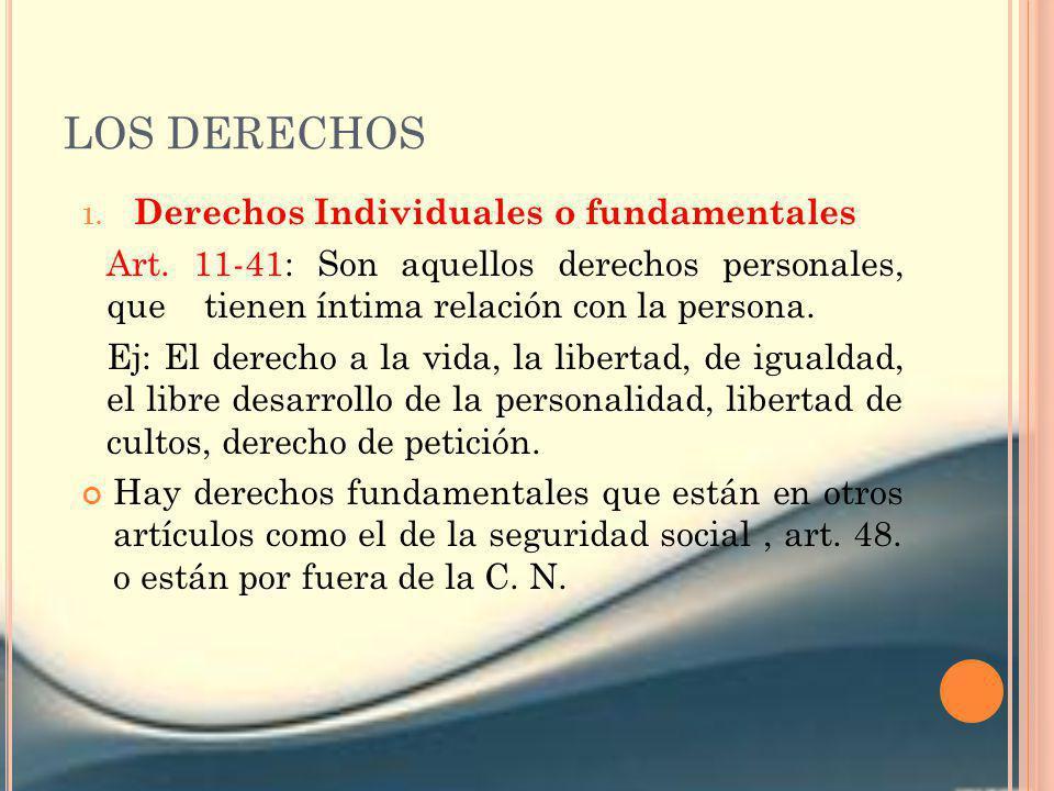 LOS DERECHOS 1. Derechos Individuales o fundamentales Art. 11-41: Son aquellos derechos personales, que tienen íntima relación con la persona. Ej: El