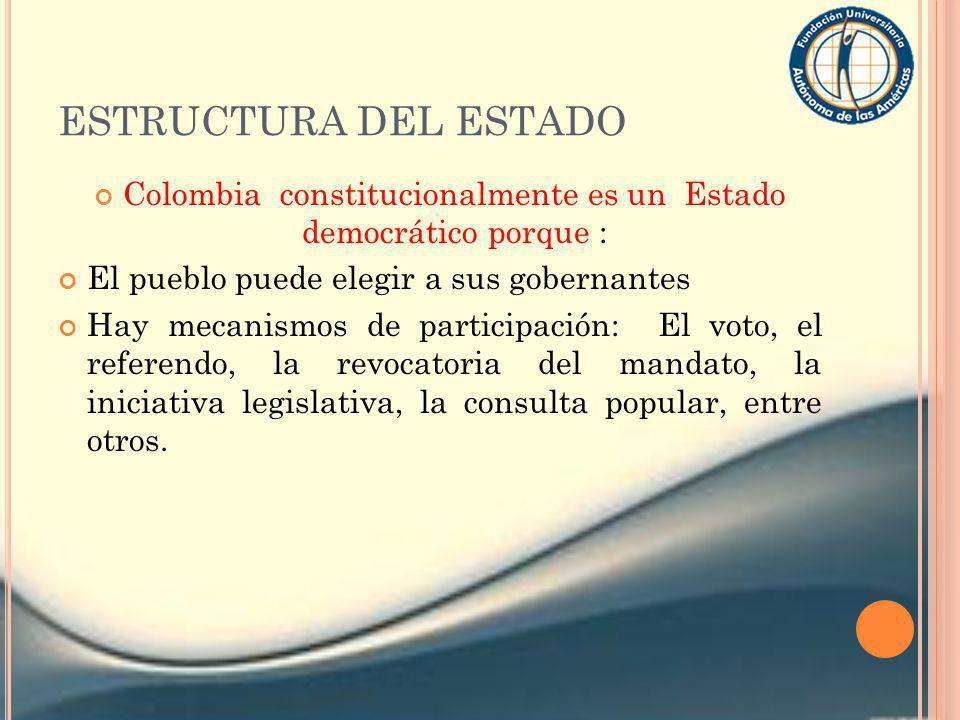 ESTRUCTURA DEL ESTADO Colombia constitucionalmente es un Estado democrático porque : El pueblo puede elegir a sus gobernantes Hay mecanismos de partic