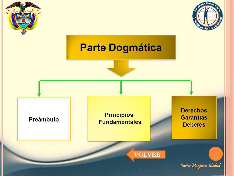 Preámbulo Parte Dogmática Principios Fundamentales Principios Fundamentales Derechos Garantías Deberes Derechos Garantías Deberes VOLVER