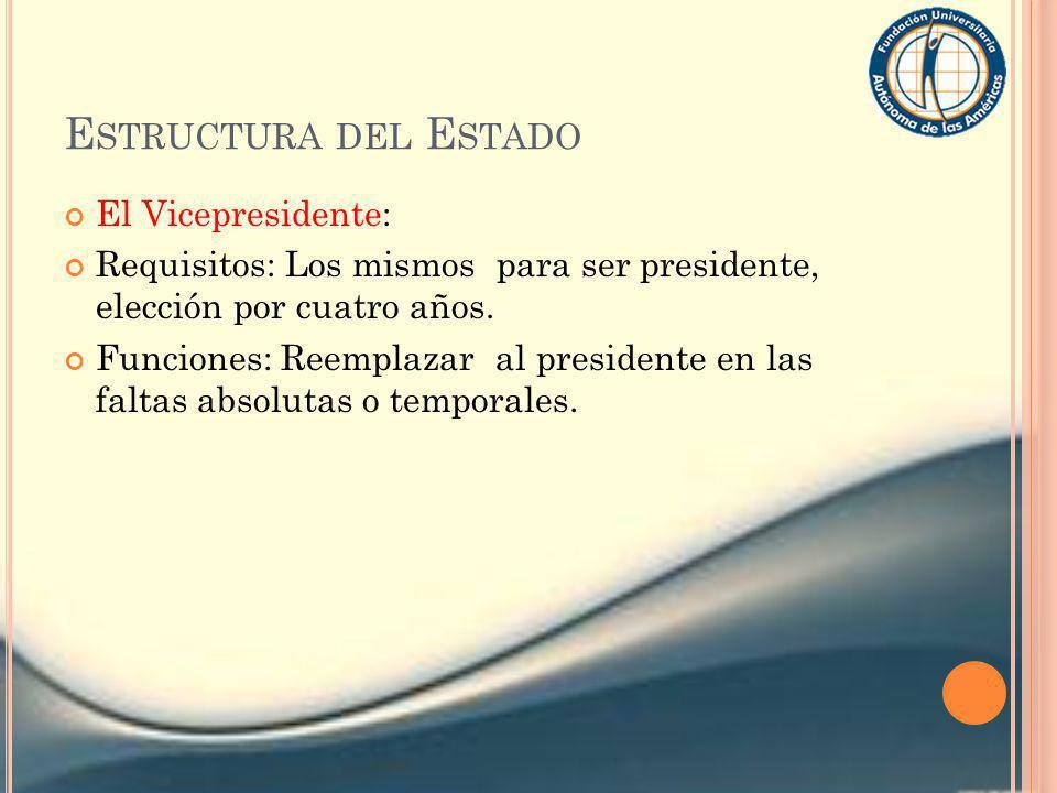 E STRUCTURA DEL E STADO El Vicepresidente: Requisitos: Los mismos para ser presidente, elección por cuatro años. Funciones: Reemplazar al presidente e