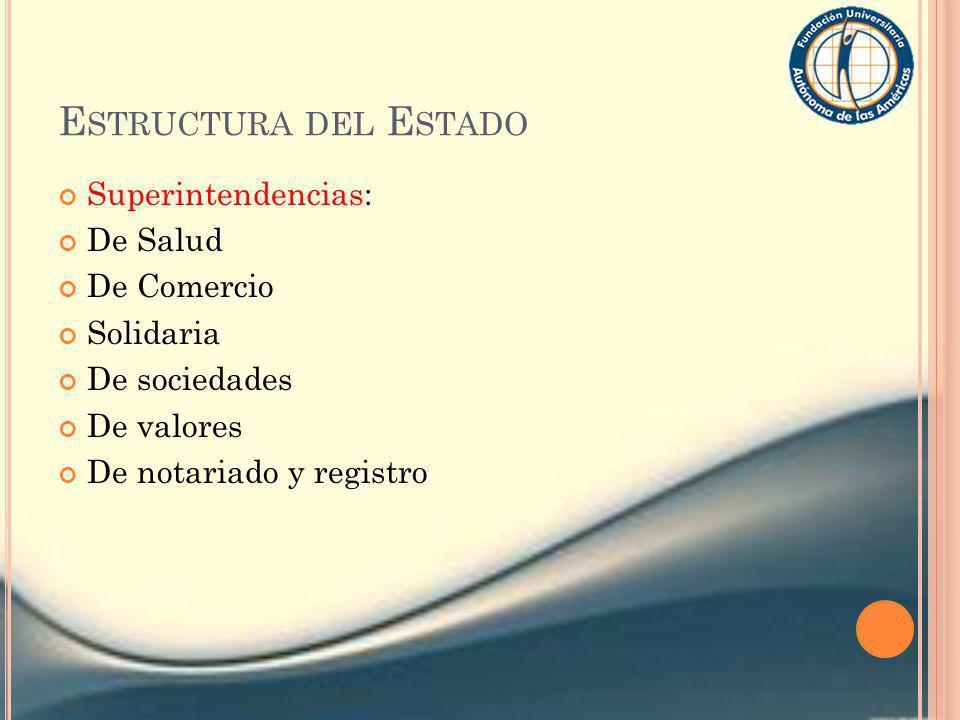 E STRUCTURA DEL E STADO Superintendencias: De Salud De Comercio Solidaria De sociedades De valores De notariado y registro