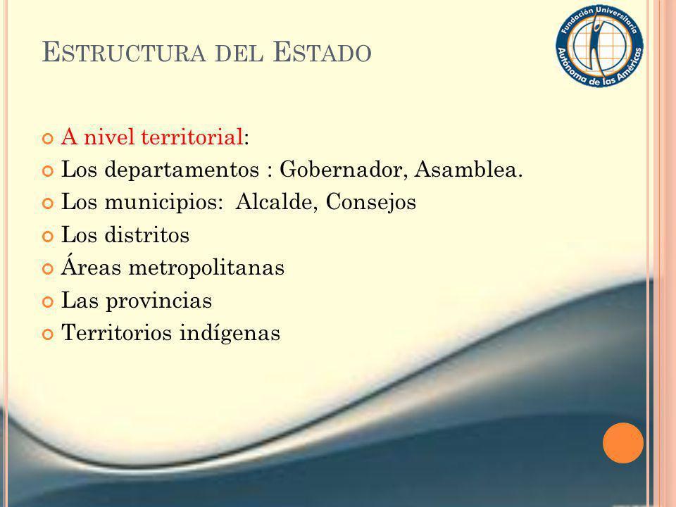 E STRUCTURA DEL E STADO A nivel territorial: Los departamentos : Gobernador, Asamblea. Los municipios: Alcalde, Consejos Los distritos Áreas metropoli