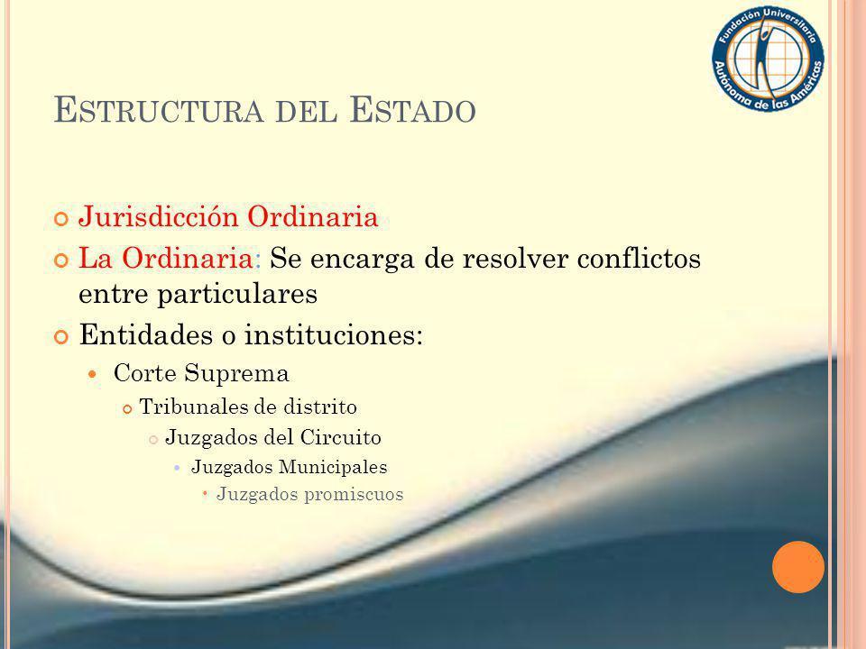 E STRUCTURA DEL E STADO Jurisdicción Ordinaria La Ordinaria: Se encarga de resolver conflictos entre particulares Entidades o instituciones: Corte Sup