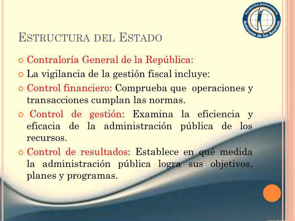E STRUCTURA DEL E STADO Contraloría General de la República: La vigilancia de la gestión fiscal incluye: Control financiero: Comprueba que operaciones