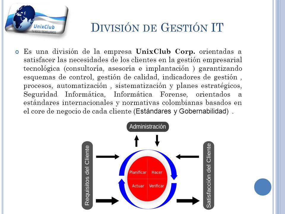 D IVISIÓN DE I NGENIERÍA Y S OPORTE Es una división de la empresa UnixClub Corp. orientada a satisfacer las necesidades de los clientes en el servicio