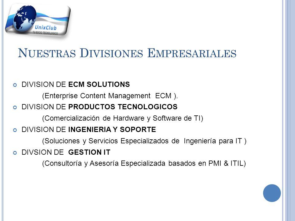 D IVISIÓN DE G ESTIÓN IT Es una división de la empresa UnixClub Corp.