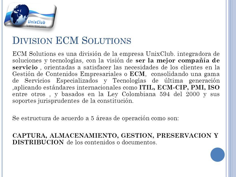 D IVISION ECM S OLUTIONS ECM Solutions es una división de la empresa UnixClub.