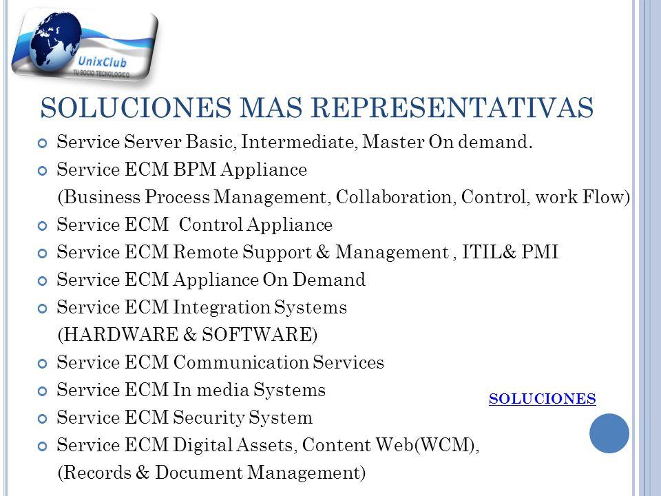 SOLUCIONES MAS REPRESENTATIVAS Service Server Basic, Intermediate, Master On demand.