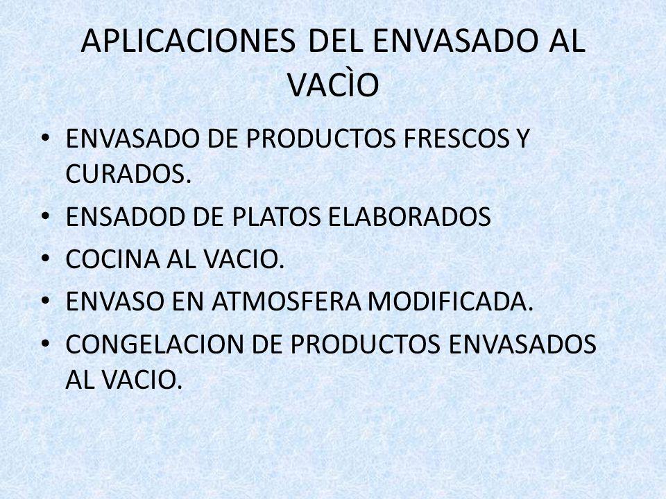 APLICACIONES DEL ENVASADO AL VACÌO ENVASADO DE PRODUCTOS FRESCOS Y CURADOS. ENSADOD DE PLATOS ELABORADOS COCINA AL VACIO. ENVASO EN ATMOSFERA MODIFICA
