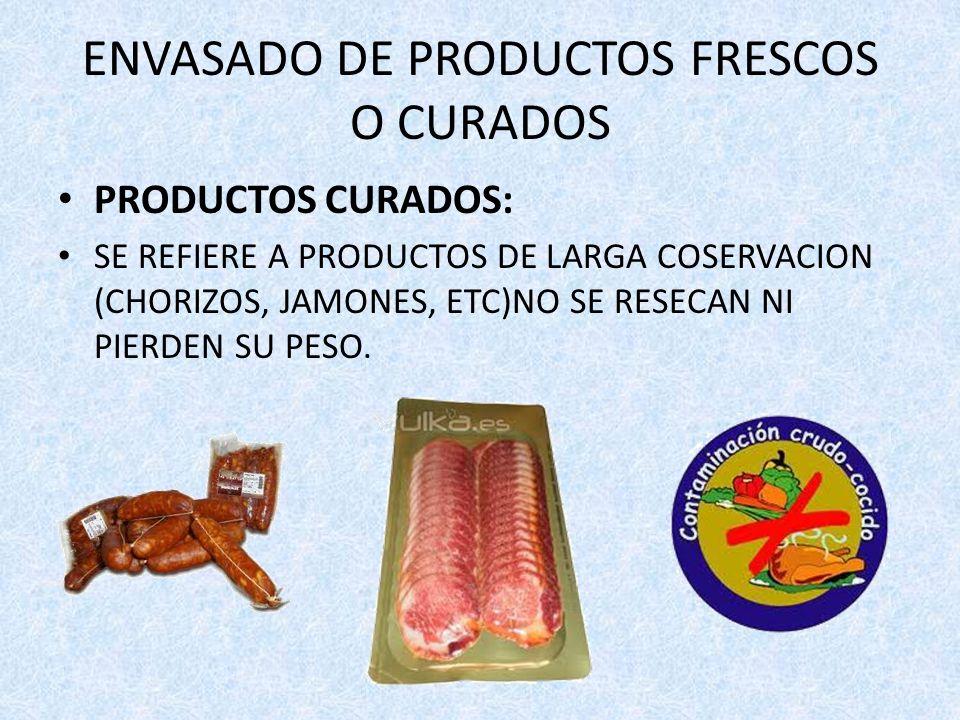 ENVASADO DE PRODUCTOS FRESCOS O CURADOS PRODUCTOS CURADOS: SE REFIERE A PRODUCTOS DE LARGA COSERVACION (CHORIZOS, JAMONES, ETC)NO SE RESECAN NI PIERDE