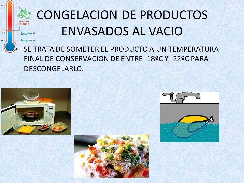 CONGELACION DE PRODUCTOS ENVASADOS AL VACIO SE TRATA DE SOMETER EL PRODUCTO A UN TEMPERATURA FINAL DE CONSERVACION DE ENTRE -18ºC Y -22ºC PARA DESCONG