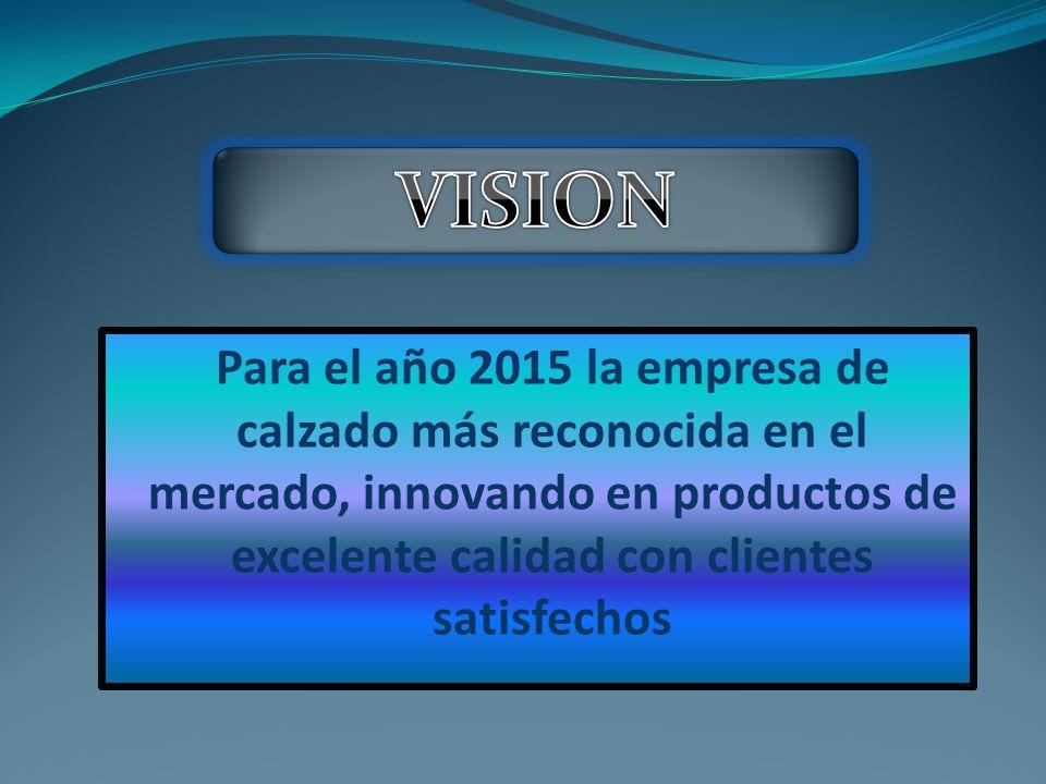 Para el año 2015 la empresa de calzado más reconocida en el mercado, innovando en productos de excelente calidad con clientes satisfechos