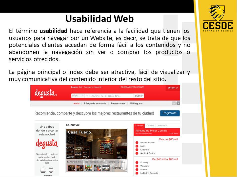 El término usabilidad hace referencia a la facilidad que tienen los usuarios para navegar por un Website, es decir, se trata de que los potenciales cl