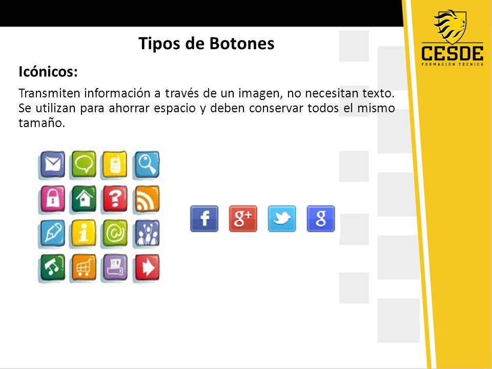 Tipos de Botones Icónicos: Transmiten información a través de un imagen, no necesitan texto. Se utilizan para ahorrar espacio y deben conservar todos