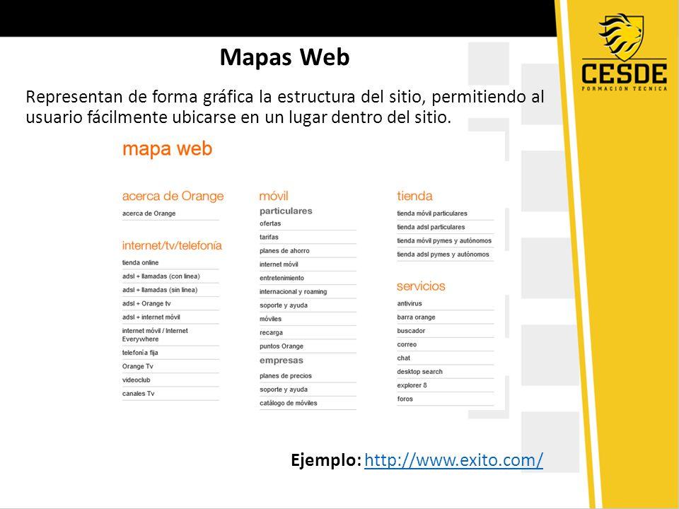 Mapas Web Representan de forma gráfica la estructura del sitio, permitiendo al usuario fácilmente ubicarse en un lugar dentro del sitio. Ejemplo: http