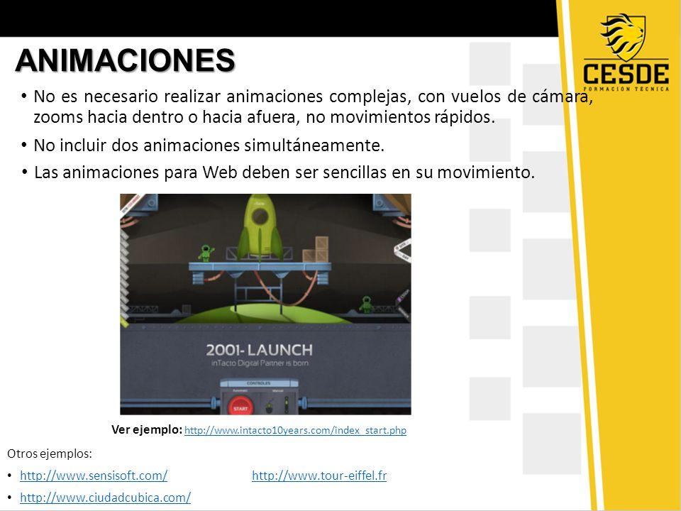 ANIMACIONES No es necesario realizar animaciones complejas, con vuelos de cámara, zooms hacia dentro o hacia afuera, no movimientos rápidos.