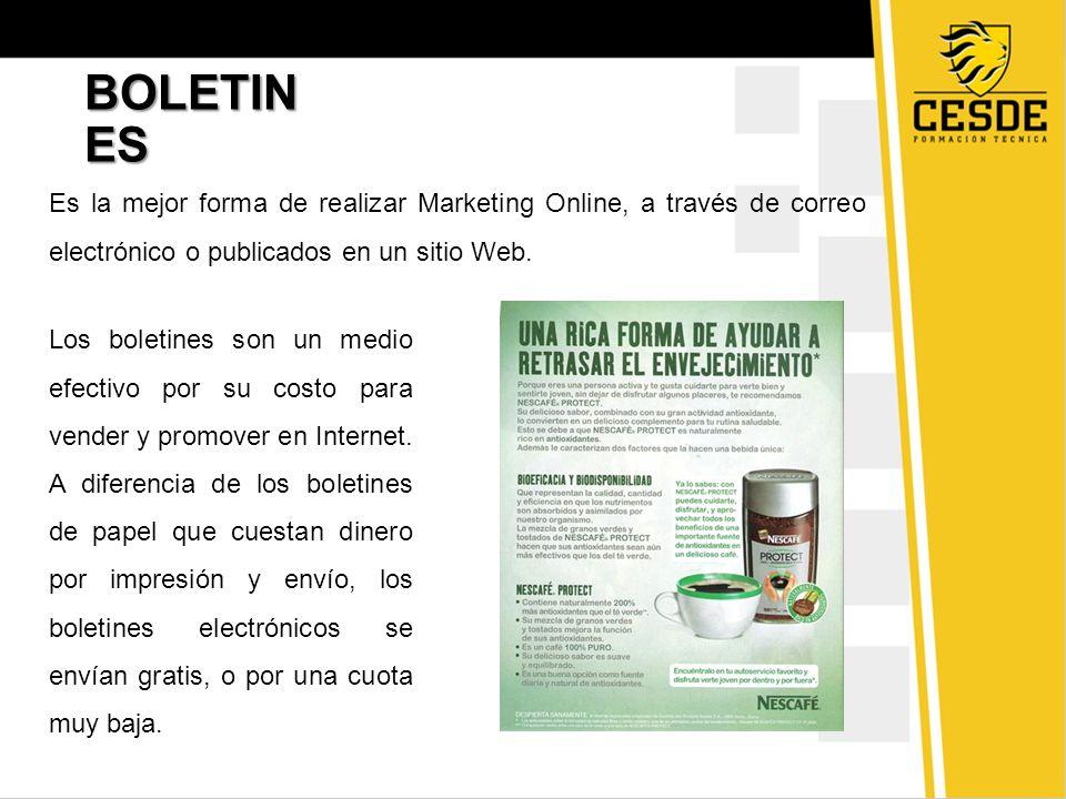 BOLETIN ES Es la mejor forma de realizar Marketing Online, a través de correo electrónico o publicados en un sitio Web.