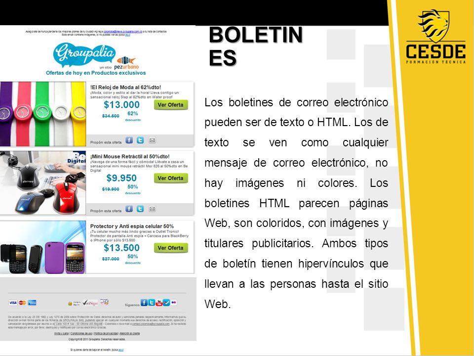 Los boletines de correo electrónico pueden ser de texto o HTML.