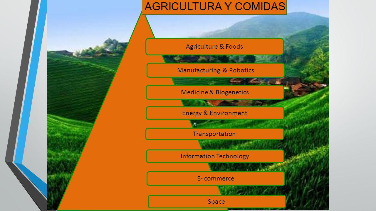 Agriculture & Foods Manufacturing & Robotics Energy & Environment Information Technology Transportation E- commerce Medicine & Biogenetics Space AGRIC