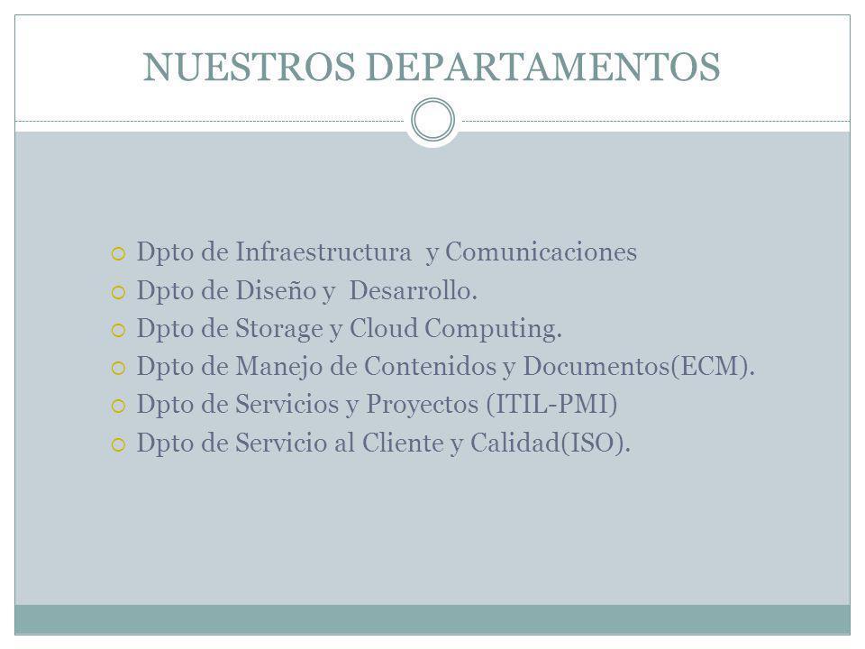 NUESTROS DEPARTAMENTOS Dpto de Infraestructura y Comunicaciones Dpto de Diseño y Desarrollo.
