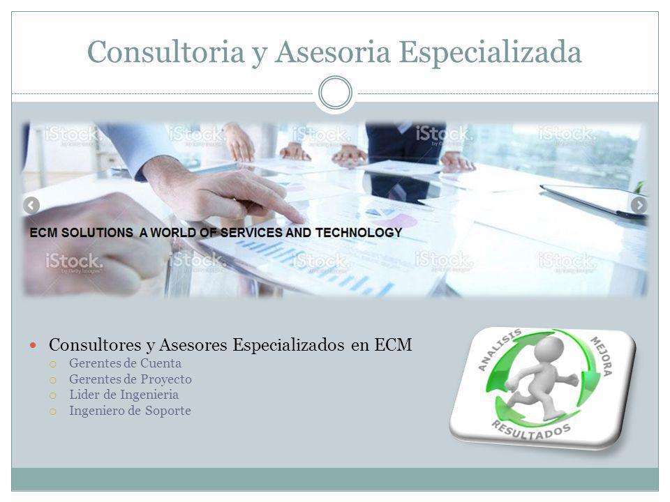 Consultoria y Asesoria Especializada Consultores y Asesores Especializados en ECM Gerentes de Cuenta Gerentes de Proyecto Lider de Ingenieria Ingeniero de Soporte